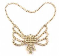 Vintage Rhinestone Butterfly Swag Drop Necklace.